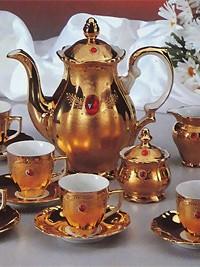 Set za kavo iz porcelana za 6 oseb v zlati barvi s kristali